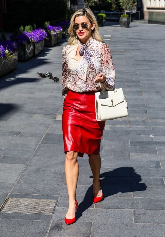 Ashley Roberts in Pencil Skirt and Print Top - Leaving the Global Studios 05/15/2020
