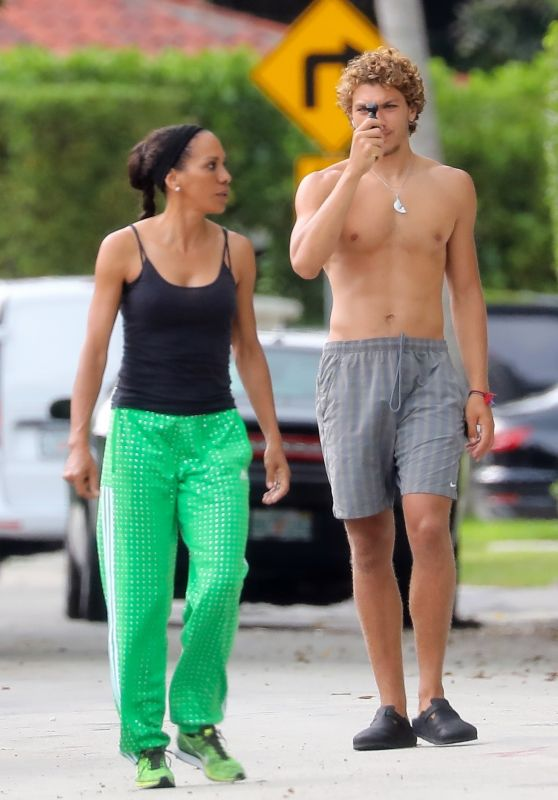 Barbara Becker With Son Elias - Out in Miami 04/30/2020