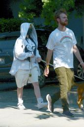 Billie Eilish in Oversized Clothing - Dog Walk in Los Angeles 05/28/2020