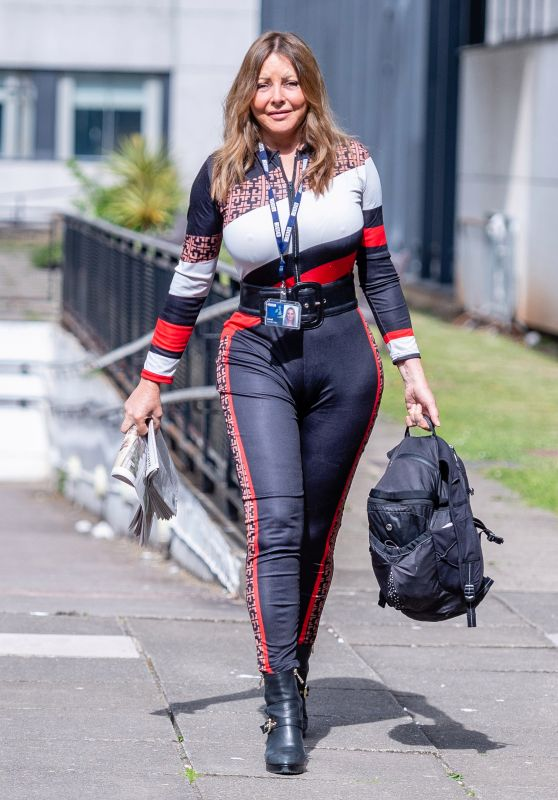 Carol Vorderman in Tight Fendi-Printed Top and Matching Skintight Trousers 05/16/2020