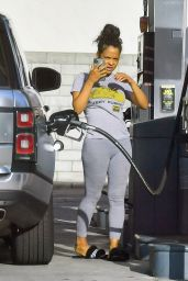 Christina Milian - Pumping Gas in Studio City 05/24/2020