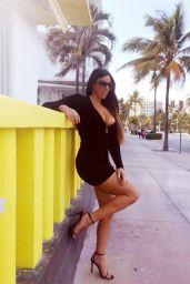 Claudia Romani in Mini Dress - Ocean Drive in Miami 05/23/2020