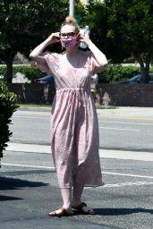 Elle Fanning in Floral Sun-Dress - Los Angeles 05/09/2020