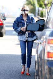 Emma Roberts in Double Denim Outfit 05/10/2020