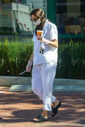 Emmy Rossum in a White Linen Shirt and Matching Trousers - Malibu 05/12/2020
