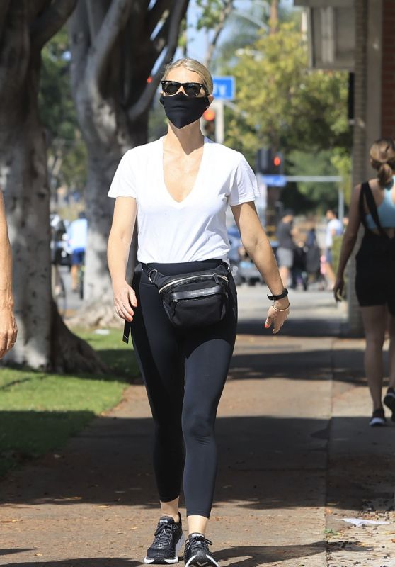 Gwyneth Paltrow in Sheer White V-Neck T-Shirt and Tights - West Hollywood 05/17/2020