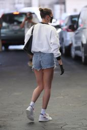 Hailey Bieber in Fuzzy White Chanel Sweatshirt and Daisy Dukes