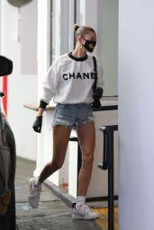Hailey Bieber in Fuzzy White Chanel Sweatshirt and Daisy Dukes