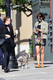 Helena Christensen in Chic Outfit - Dog Walk in NYC 05/21/2020