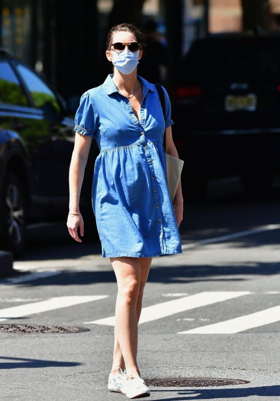 Hilary Rhoda Covers Her Baby Bump in a Denim Dress 05/27/2020