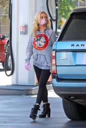 Holly Madison Wearing a Relaxed Grey Mickey Mouse Hoodie and Black Leggings