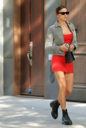 Irina Shayk in a Thigh-Skimming Ded Dress Out in NYC 05/27/2020
