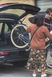 Jenna Coleman - Gets a Bicycle for Her 34th Birthday