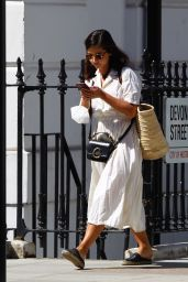 Jenna Coleman in White Cotton shirt Dress and Espadrilles 05/29/2020
