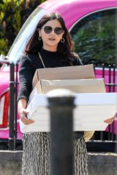 Jenna-Louise Coleman - Carrying a Big Pile of Delivery Boxes in London 05/18/2020
