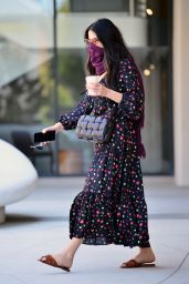 Jessica Gomes in a Floral Print Dress - Los Angeles 05/28/2020