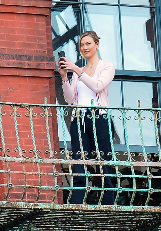 Karlie Kloss and Joshua Kushner on Their Balcony - NYC 05/14/2020