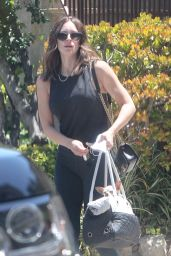 Katharine McPhee in Black Tank Top With a Pair of Skintight High Waisted Leggingsis