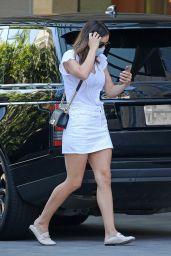 Katharine McPhee in White Denim Skirtand Matching V-Neck T-Shirt - Westwood 05/27/2020