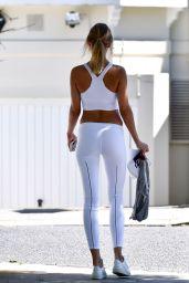 Kimberley Garner in a White Crop Top and Leggings 05/25/2020