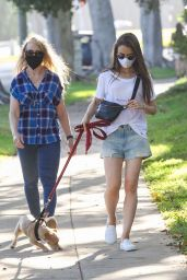 Lily Collins in Lightwash Denim Jean Shorts and White T-Shirt