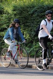 Lily James - Biking in London 05/15/2020