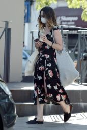 Lily James in a Black Floral Sress - Out in London 05/23/2020