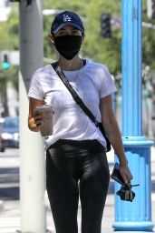 Lucy Hale in Cropped Tank and Skintight Leggings at the Conservatory in West Hollywood 05/26/2020