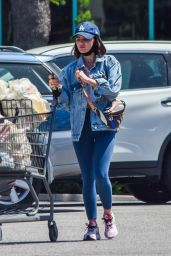 Lucy Hale in Jeans Jacket and Skintight Leggings 05/04/2020