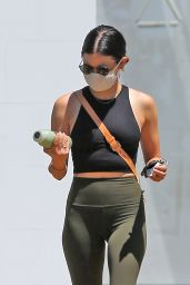 Lucy Hale in Workout Outfit at a Gas Station in Studio City 05/21/2020