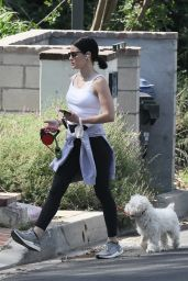 Lucy Hale - Walking Her Dog in Studio City 05/17/2020