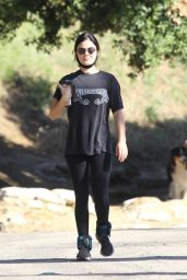 Lucy Hale - Wears an Alabama Concert Tee and Leggings - Hollywood Hills 05/28/2020