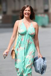 Lucy Horobin Wearing Clinging Floral Jumpsuit 05/22/2020