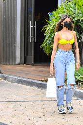 Madison Beer in a Surgical Mask and Yellow Bikini Top - Cafe Havana in Malibu 05/11/2020