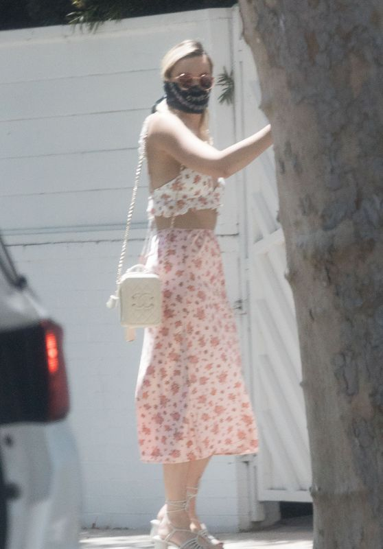 Margot Robbie in a Floral Bralet and Midi Skirt - LA 05/16/2020