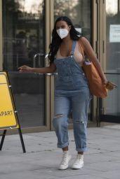 Maya Jama in Denim Dungarees - London 05/27/2020
