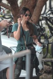 Megan Fox in a Green T-Shirt and Clinging Camouflage Leggings 05/29/2020