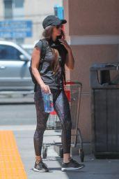 Megan Fox in Dark Gray T-Shirt and Blue Speckled Leggings  - Calabasas 05/07/2020