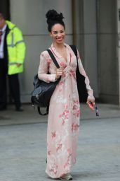 Michelle Ackerley in a Pink Dress - Leaving BBC TV Studio in London 05/08/2020