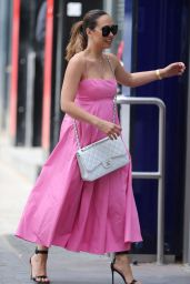 Myleene Klass in a Pretty Pink Dress and Shades 5/16/20