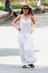 Myleene Klass Summer Chic in a White Maxi Dress and a Fedora