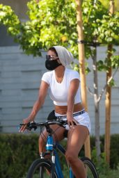 Nicole Murphy in a Crop Top and Shots - Bike Ride in Santa Monica 05/06/2020