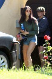 Nina Dobrev in Shorts - Outside Her House in LA 04/30/2020