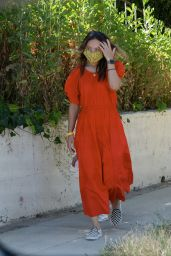 Olivia Wilde in Coral Puff-Sleeved Midi-Dress - LA 05/18/2020