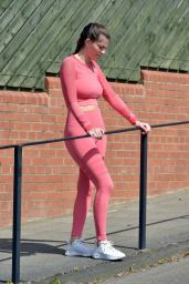 Rebecca Gormley in Tight Pink Crop Top and Leggings 05/11/2020