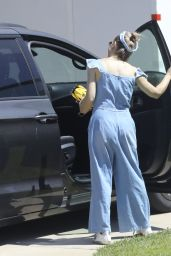 Sarah Michelle Gellar in a Blue Denim Jumpsuit in Los Angeles 05/14/2020