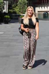 Sian Welby in Crop Top and Snakeskin Print Trousers 05/28/2020