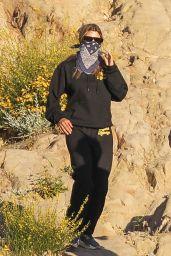 "Sofia Richie in Black Hoodie and Matching ""Mada Honeys"" Sweatpants - Hiking in Malibu 05/14/2020"