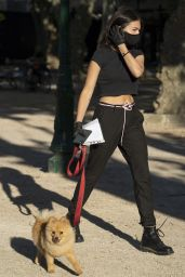 Thylane Blondeau in a Black Cropped Tee, Matching Joggers and Biker Boots