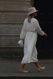 Vogue Williams in a White Dress and Fedora - London 05/10/2020
